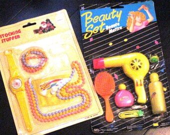 Two Vintage Beauty Sets/Costume Jewelry/Pretend Make Up/Hair Blow Dryer NIP/Dress Up