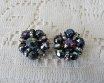 Vintage Bead & Rhinestone Clip Earrings Aurora Borealis Stones