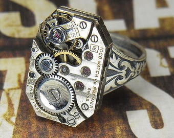 Women's STEAMPUNK Ring - Torch SOLDERED - Vintage Silver Octagonal IOCO Watch Movement w Horizontal Pin Stripes - Birthday Anniversary Gift