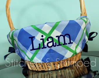 Personalized Easter Basket Liner - Bright Blue and Green Plaid - Personalized with Name - Custom Basket Liner