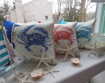 Crab Pillow - Beach Pillow - Sea Life Pillow - Maryland Crab Pillow - Sea Creatures - Coral Pillow - Navy Blue Pillow - Turquoise Pillow