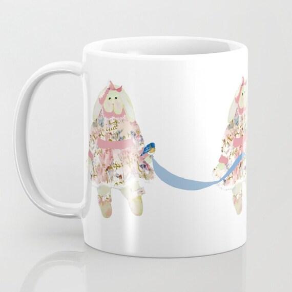 Mug, A Shabby Chic Easter Bunny 11 oz and 15 oz