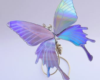 Watch Parts and DVD Wing Butterfly Sculpture No 2 Upcycled Steampunk Beautiful Art Iridescent CD Rainbow Fairy A Mechanical Mind Insect