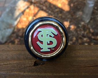 Unique solid marble top wine bottle stopper adorned with an FSU Seminole inspired image