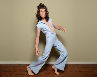 vintage jumpsuit 1970 70s vintage jumper short sleeve wide leg flare PBJ Jerell size 5 S/M 70s disco Studio 54 glam rock