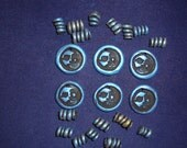 Lot of 16 Spiral and 6 Face-Imprinted Black/Blue Polymer Clay Beads