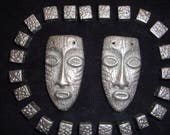 Lot of 2 African Mask Pendants and 23 Square Silver Polymer Clay Beads