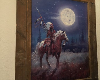 Vintage Indian Chief Painting Original Pastel Art Framed Horse Buffalo Moon