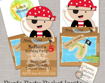 Pirate Party Invitation, Printable Pirate Birthday Party Invite, Boys Birthday invitation, Kids Birthday Party Announcement, Treasure Hunt