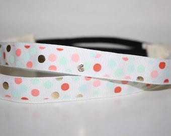 "Colorful Dots Hankband - Geometric Headband - 5/8"" Wide Non Slip Headband"