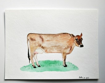 Painting, wall art, cow art, watercolor painting, cow painting, farm house decor, farm animals, original art