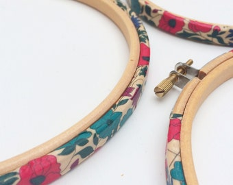 Fabric Covered Embroidery Hoops. Liberty's, 'Poppy and Daisy'  Tana Lawn fabric.