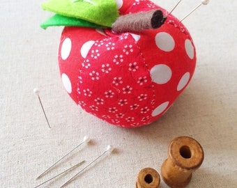 Traditional Pin Cushion, Red Apple Shaped Pin Cushion