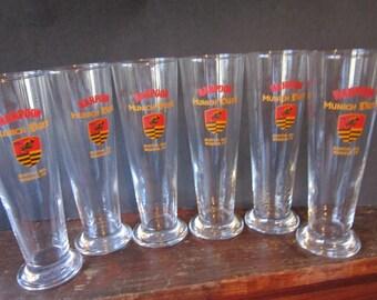 "set 6 tall beer glasses harpoon munich dark boston ma. windsor vt. 8"""