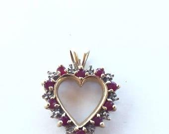 MASSIVE CLEARANCE Beautiful Vintagw 10k Gold Diamond and Ruby Heart pendant