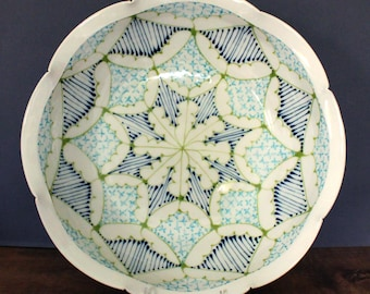 Large Handmade Wheel Thrown Ceramic Bowl with Navy, Kiwi and Turquoise Pattern
