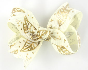 "Gold and Ivory Feather Hair Bow, 3"" 3 inch hair bow, girls hair bow, toddler hair bow, baby hair bow, boutique bow, cream gold metallic clip"