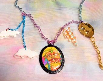 CASPERBLAISE X BONESCOUTURE: Colorful Long Pastel Charm Necklace With Multi-Color Chain, Pendant, Rat Charms, Balloon, Lightning Bolt