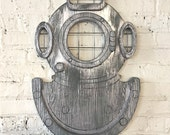 Diver Mask Wall Art Deep Sea Distressed Silver Beach and Coastal Nautical