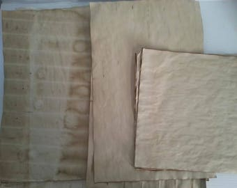 10 large sheets of coffee dyed papers for crafts | coffee stained paper for art projects | coffee dyed paper | vintage inspired paper supply