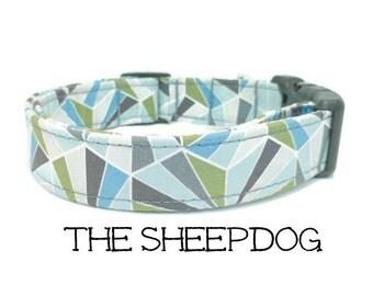 Dog Collar, The Sheep Dog, Blue Dog Collar, Green Dog Collar, Geometric Dog Collar, Boy Dog Collar, Dog Gift, Matching Leash Available
