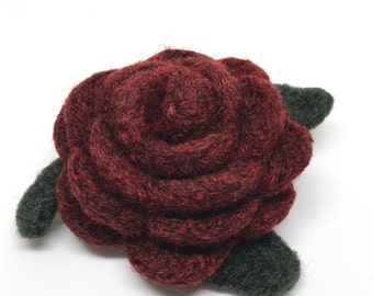 Felted Wool Rose Flower Brooch pin in Garnet Heather Red with dark green leaves