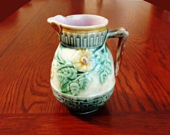 Griffen, Smith & Hill Etruscan Majolica Cream Pitcher 4-3/8' Wild Rose Pattern Older Monogram w/ E3 and 39 Marks ca. 1880 Phoenixville PA