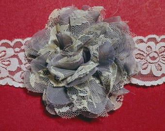 Gray Shabby Chic Lace Headband