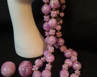 Vintage 1950s Necklace and Earrings. Demi Parure. Gorgeous Pale Lavender Lucite beads