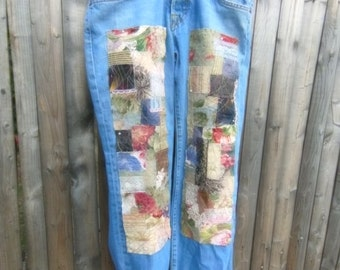 Patchwork jeans, patched denim, up cycled, boho, my art your jeans