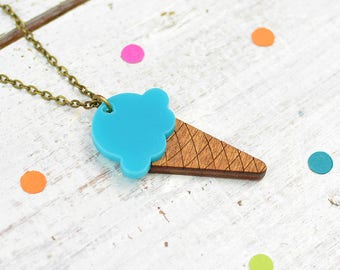 Bubblegum Ice Cream Necklace | Turquoise Necklace | Ice Cream Cone | Summer Jewellery
