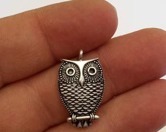 2 Sterling Silver Oxidised Owl pendant charm