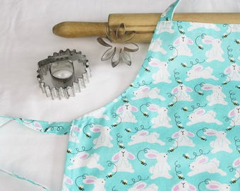 Easter Bunnies on Turquoise Child Apron