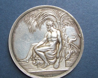On Sale Hercules Antique German Silver Medal Signed Loos Circa 1805    SS234