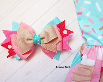 M2M Eleanor Rose Bow, Sweet Celebrations Bow, Eleanor Rose, Eleanor Rose Bow, Birthday Bow, Spring Hair bow, Cupcake Bow, Summer Bow