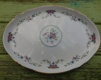 Vintage 1970s Small White Platter With Pink Roses and Blue Flowers Wedgwood Rosedale Made in England Bone China Oval