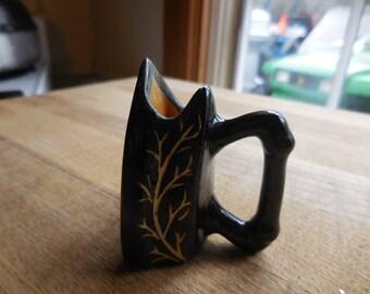 Vintage 1950s to 1960s Black Ceramic Tiny Black Iron Toothpick Holder Tree Motif Retro Little