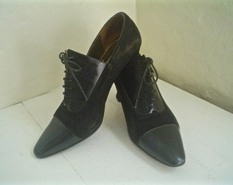 Vintage Anne Klein Oxford Heels Black Leather and Suede Spectator Shoes Size 7 or 6.5