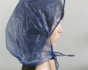 Pretty MIDCENTURY RAIN BONNET Navy Blue Chiffon lined with Plastic made in Hong Kong ( Low shipping to Canada & Usa )