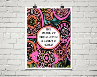 Matter Of The Heart 18x24 Art Poster Giclee Typography Floral Graphic Lisa Weedn
