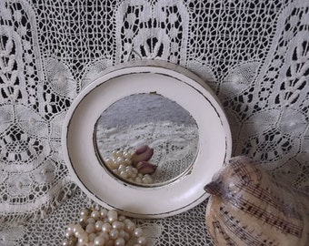 Petite round mirror, shabby and chic, creamy white, small mirror