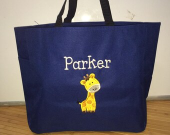 Personalized Baby Giraffe Diaper Bag Tote Boy or Girl