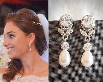 Bridal Earrings, Pearl Wedding Earrings, Crystal Leaf Earrings, Swarovski Teardrop Dangle Drop Earrings, Rose Gold Wedding Jewelry, RUBIE