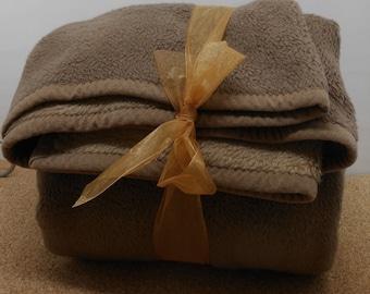 Brown Faux Fur Blanket Reversible MANTAS VS Tag VERY Heavy