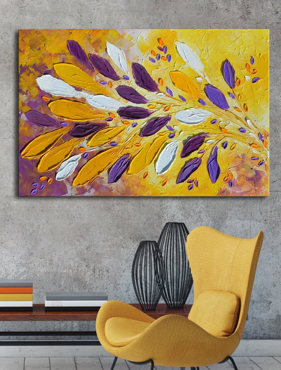 Original Purple yellow Abstract flowers,  Abstract purple painting, textured impasto purple violet yellow art, hand made painting canvas