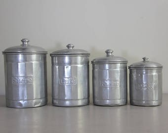 Shabby Chic French Vintage Set of 4 Aluminium Canisters