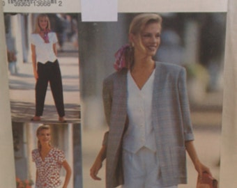Vintage Simplicity Pattern # 8239 American Classic Misses Pants or Shorts Top and Unlined Jacket  Sizes 12-16  Epsteam