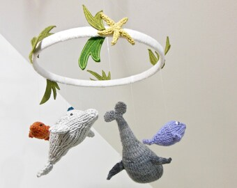 Ocean Mobile, Sea Creatures Baby Mobile, Fish Mobile, Whale mobile, Ocean Nursery, Knit Sea Animals, Ocean Nursery Decor, Dolphin Mobile,
