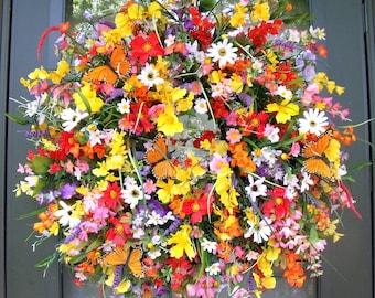 Wildflower Wreath, Mother's Day Gift, Summer Wreath, Between 2 Doors, Apt/Condo Wreath, Red, Yellow, Purple, Pink, Monarch Butterfly Wreath.