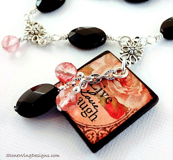 Live Laugh Love Black Onyx and Cherry Quartz Necklace